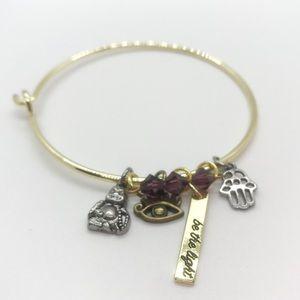 Third Eye, Hamsa Hand & Buddha charm bracelet